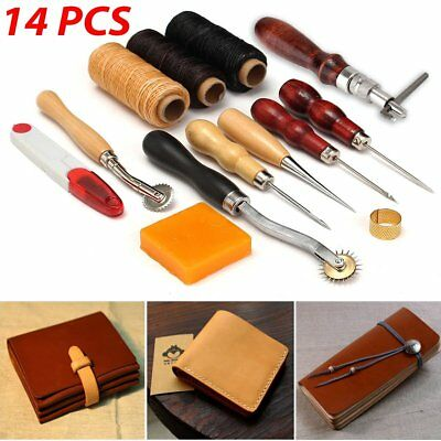 14Pcs Leder Werkzeug Leather Craft Hand Sewing Stitching Groover Tool Kit Set DE