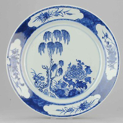 Large 18C Antique Chinese Qianlong Period Plate With garden scene