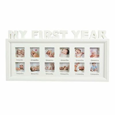 Juvale My First Year Baby Picture Frame - 12 Month Photo Frame - Holds 12 Photos