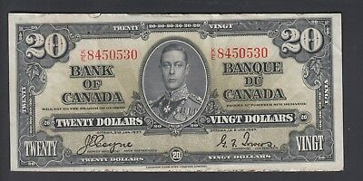 1937 $20 Dollars - Gordon Towers - Prefix K/E - Bank of Canada - D782