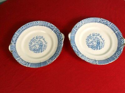 Two Antique Blue Transferware White Gold 18th century platters peonies handles