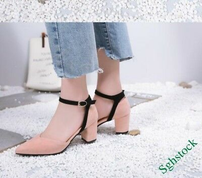 New Sweet Women's Ankle Strap Pointy Toe Block Korean OL Shoes Faux Suede New