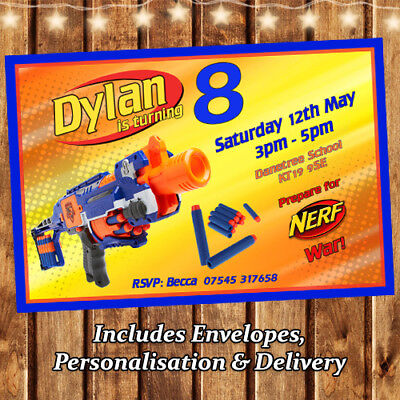 Nerf Party Personalised Party Invitations With Envelopes