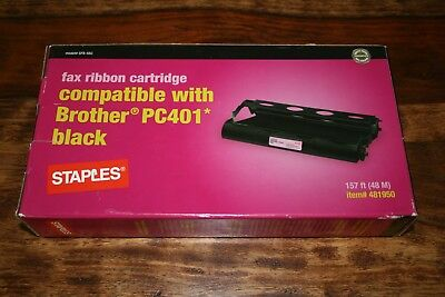 New Brother Pc401 Black Fax Ribbon Cartridge By Staples #481950 157 Ft