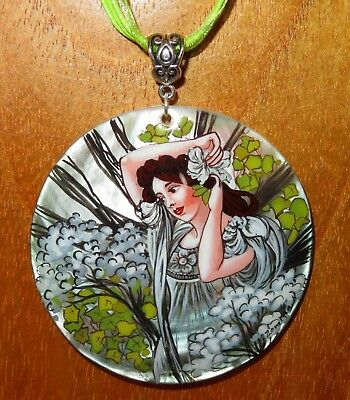 Pendant Shell MUCHA Hand Painted REPRO JUNE SUMMER MONTHS UNIQUE BIRTHDAY GIFT