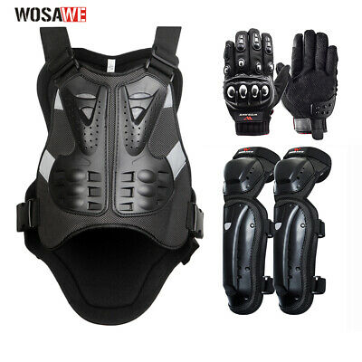 Motorcycle Body Armor Jacket Knee Pads Mask Motocross Vest Protective Gloves
