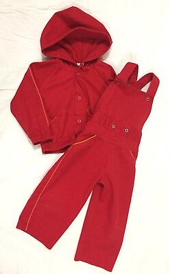 Vtg Carters Toddler Boy's 2 Piece Spring Matching Outfit Coat Jacket Overalls 3T