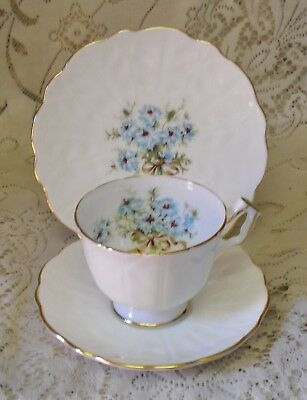 Vintage Aynsley Blue And White Floral Trio Cup Saucer Plate Made In England
