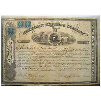 1862 American Express Co. Wells & Fargo Signed Stock Certificate-Psa/dna