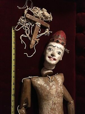 """Antique 36"""" Marionette Ventriloquist Puppet Old Doll With Phallus"""