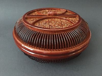 """Japanese Chinese Bamboo Woven Food Serving Basket 7.75""""D Lacquered Handmade"""