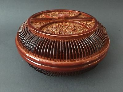 "Japanese Chinese Bamboo Woven Food Snack Candy Basket 7.75""D Lacquered Handmade"