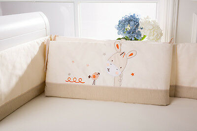 Baby Kid Toddler Cot Crib Bedding Bumpers Pure Cotton Newborn Gift  Soft Cream