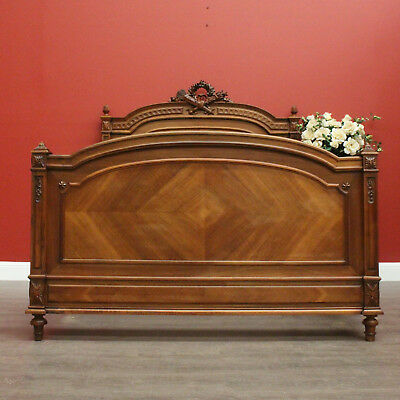 Antique French Walnut Double Bed including Headboard Foot and Side Rails