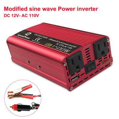 1500W DC 12V to AC 110V Car Power Inverter Charger Converter for Electronic USB