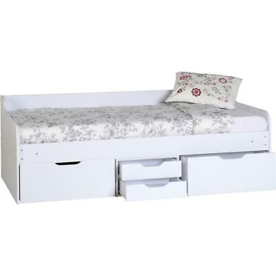 Single Kids Cabin Bed Frame Furniture Children White Daybed Drawers Storage New