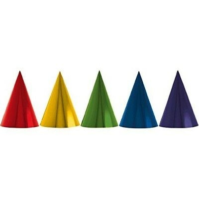 "Fun Rainbow Birthday Party Foil Cone Hats , Pack Of 12, Multi , 7"" Foil -"