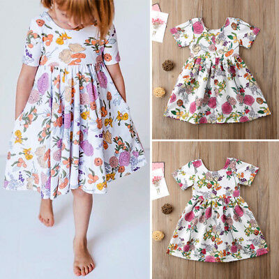 Toddler Kids Baby Girls Floral Party Short Sleeve Dress Sundress Summer Clothes