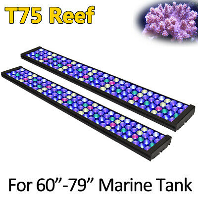 "DSunY 2PCS 72"" 6ft LED Aquarium Light Dimmable for Marine Coral Reef SPS/LPS"