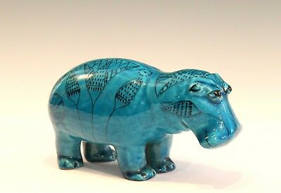MMA Italian Pottery Figure Willie the Hippo Turquoise Crackle Egyptian Faience