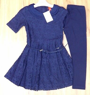 Bnwt Next Girls Navy Blue Lace Top & Leggings 6 Yrs 5-6 Party Wedding Christmas