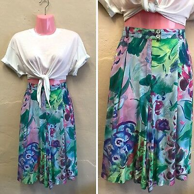 """SIZE 12 w31""""– VINTAGE HIGH WAISTED SHORTS CULOTTES BLUE PINK FLORAL 90s (st15)"""