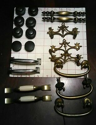 20 Lot Assorted Vintage Pulls Brass Metal Hardware Door knobs drawers