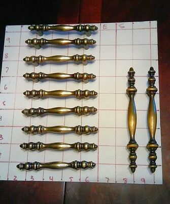 11 Piece Lot Antique Vintage Pulls Brass Metal Hardware Cabinet Door Drawer Lot