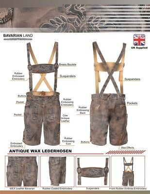 Mens LEDERHOSEN Antique Wax Finish with Embossed Embroidry With Suspenders