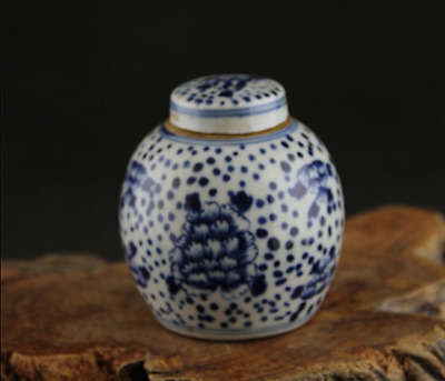 Folk collection Blue and white porcelain peony Small tea canister Jar