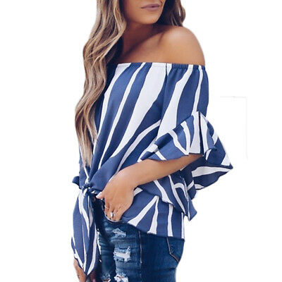 Sexy Womens Off Shoulder Chiffon Shirt Blouse Tops Loose Fit Striped T-shirt Tee