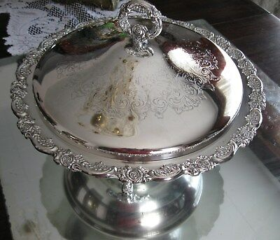 Exquisite Edwardian  Rose Antique/vintage  Ornate Silver Plate Serving Dish Bowl