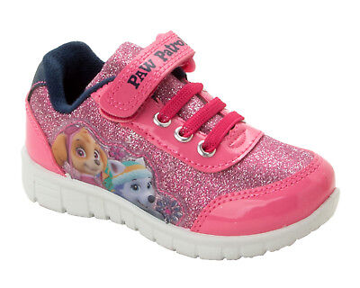 Girls Official Paw Patrol Skye & Everest Character Glitter Trainers Shoes  5-10