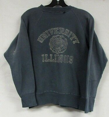 VINTAGE SWEATSHIRT RAGLAN COLLEGE 60s GUSSETS ILLINOIS UNIVERSITY LONG SLEEVE