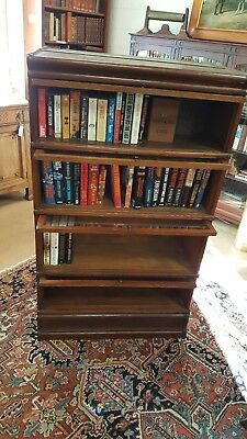 Barrister Bookcase Antique 4 Shelf Glass w/ Metal Strap Detail Old