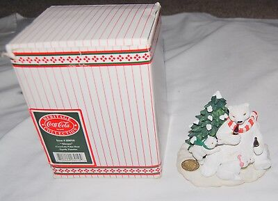 Vintage Coca Cola Heritage Polar Bear Family Figurine Winter Christmas Box 90s