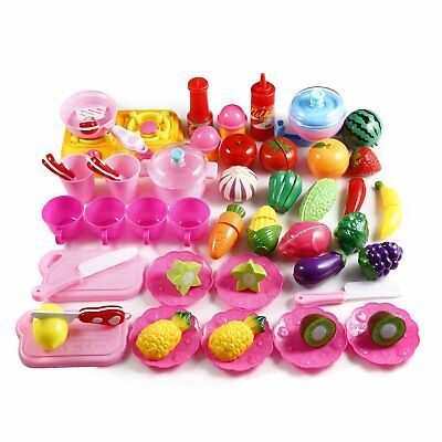 PEATAO 49 PCS Pretend Food Kitchen Play Set for Kids Plastic Cutting Fruits and