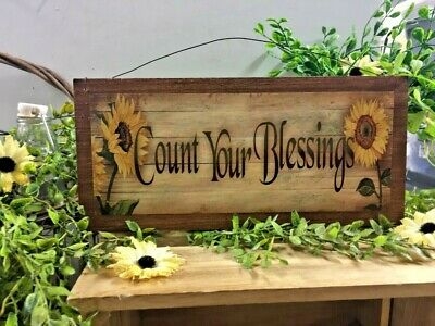 sunflowers count your blessings country kitchen wooden wall decor sign 5x11 in