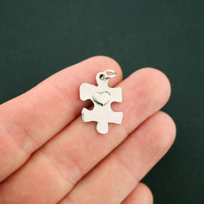 4 Heart Puzzle Piece Charms Antique Silver Tone With Attached Jump Ring - SC7103