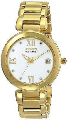 Citizen Eco-Drive Women's EO1112-58A Marne Analog Display Gold Watch SHIPS FREE