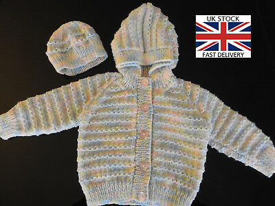 NEW HOODED CARDIGAN with BONNET 3 Months Girls MULTI-COLOURED FREE DELIVERY 🇬🇧