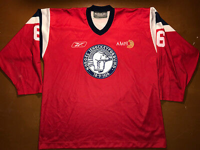 IIHF Norway Ice Hockey Game Worn Jersey Shirt Reebok Size XXL #6 Norge Ishockey