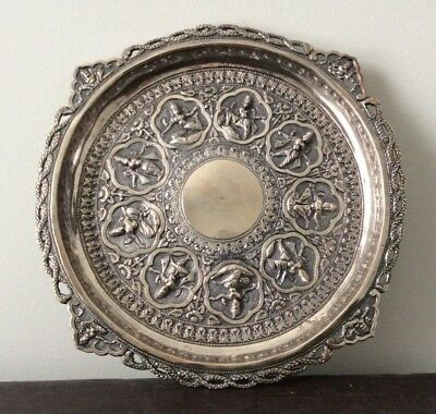 Solid Sterling Silver Indian Platter / Hand Chased Tray / Hindu gods / Repousse