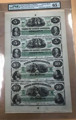 1872 South Carolina Uncut Sheet $5-$5-$10-$10 Gem Uncirculated PMG 65 EPQ