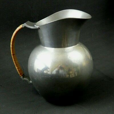 Just Andersen •Just Denmark 2197 • Pewter Pitcher Jug with Wicker Bound Handle •