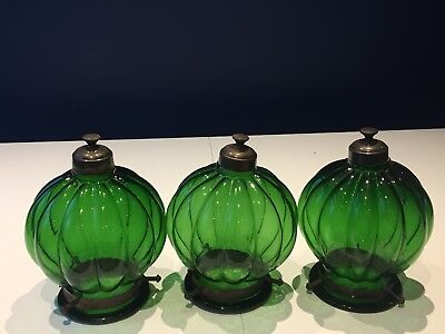 3 Beautiful Antique French Green Glass Globe Shaped Vintage Light/ Lamp Shade