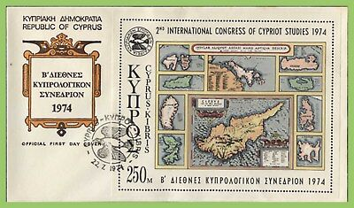 Cyprus 1974 Congress of Cypriot Studies miniature sheet on First Day Cover