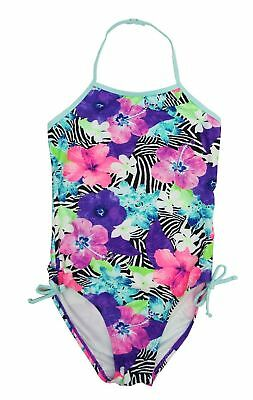 So Girl Size 10 12 14 16 Bright Hibiscus Floral Print UPF 50 One Piece Swimsuit