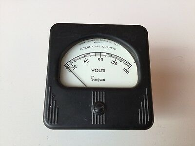 Working Vintage Panel Meter Lot Of 2 Simpson Phaostron Steampunk Ac Volts
