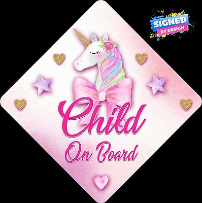 Non Personalised Child / Baby On Board Car Sign~Unicorn Pink & Gold ~ Child